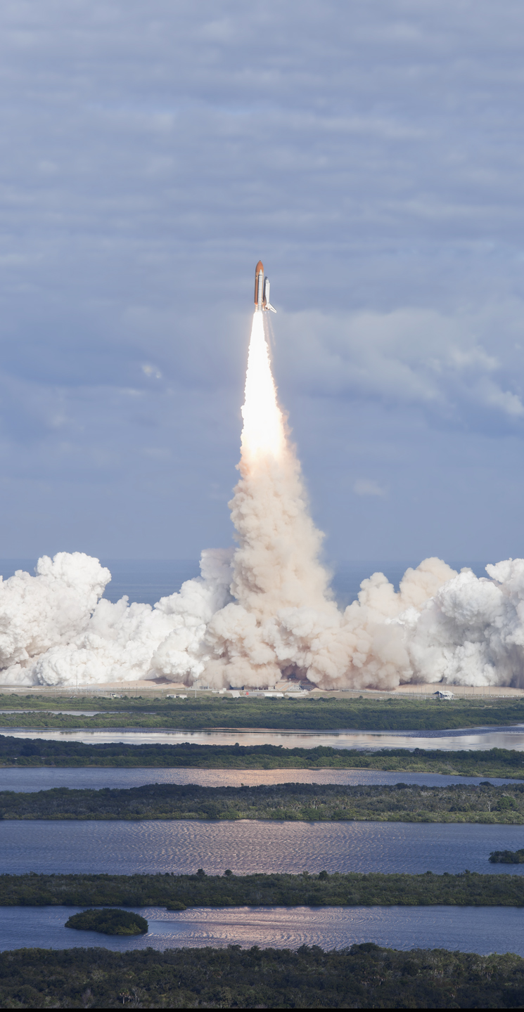 STS-129 Launch from VAB Roof, Space Shuttle Atlantis