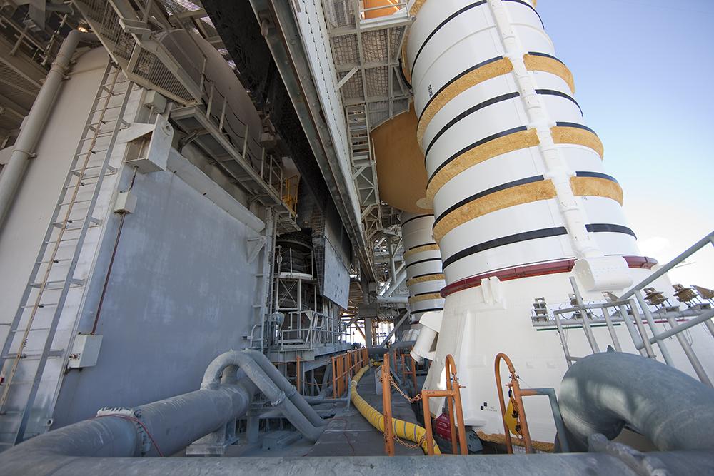 Solid Rocket Booster Base on Mobile Launch Platform
