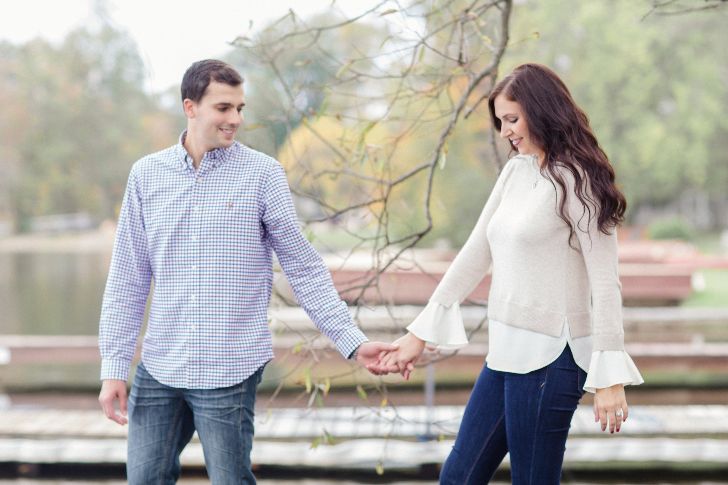 Fall engagement session at a lake in October