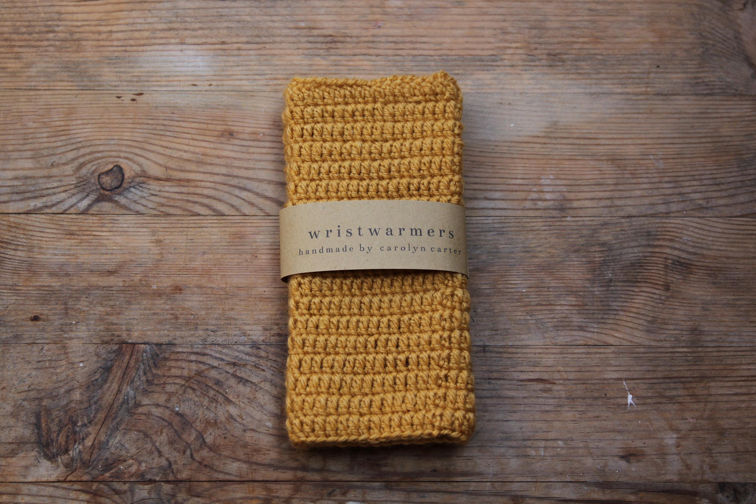 Mustard Yellow Wristwarmers by carolyn carter