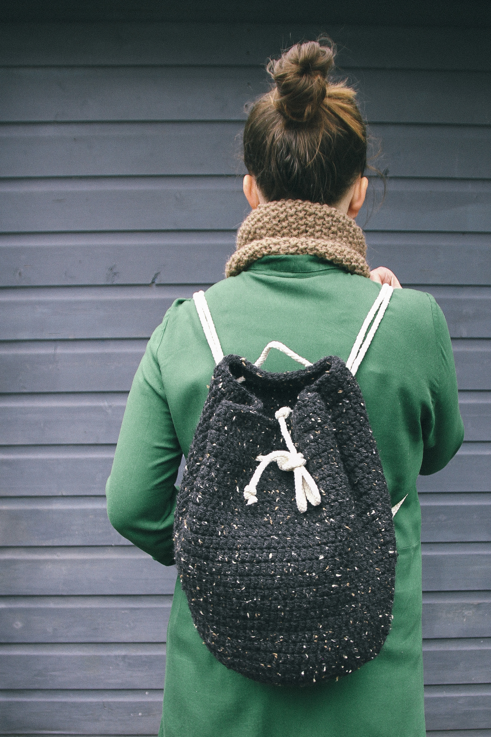 Crochet tweed backpack | carolyn carter