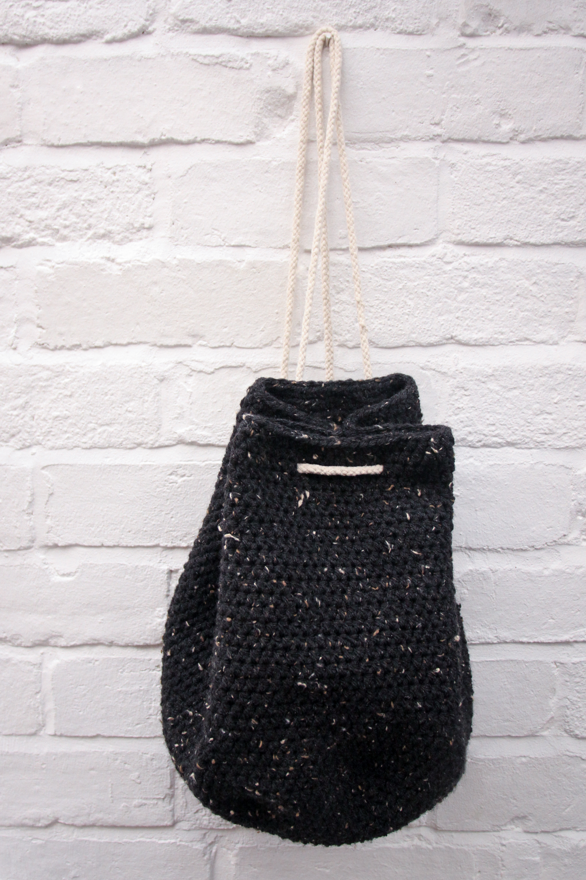 Crochet tweed backpack