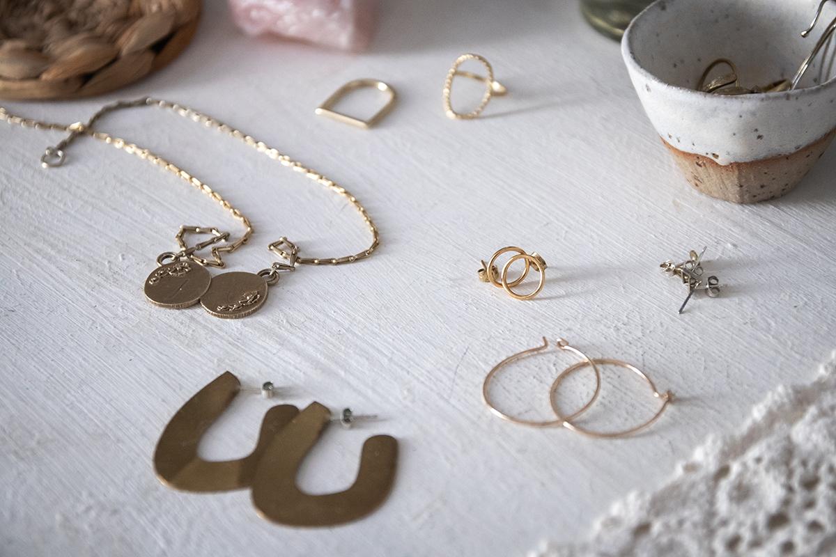 Handmade jewellery by: (clockwise from the top left)  Mikaela Lyons ,  Clare-Elizabeth Kilgour ,  Molly Debiak ,  Rebecca Gladstone ,  Linda Tucker  &  Lennie Beare