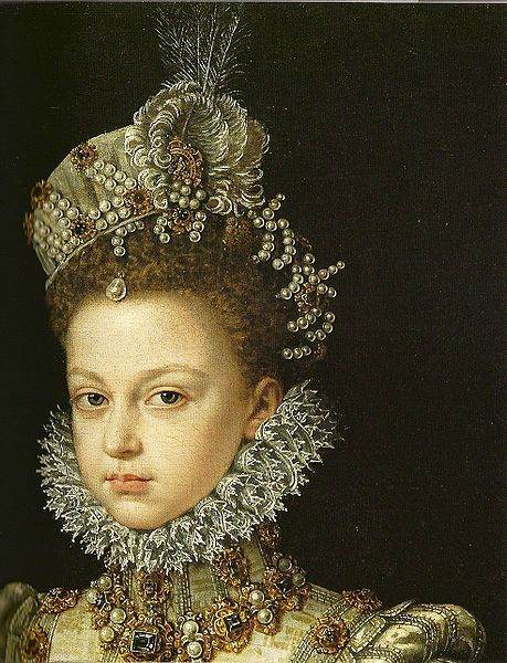 the beauty of Infantin Isabella Clara Eugenia at age 13 (detail), Alonso Sanchez Coell,1579.jpg
