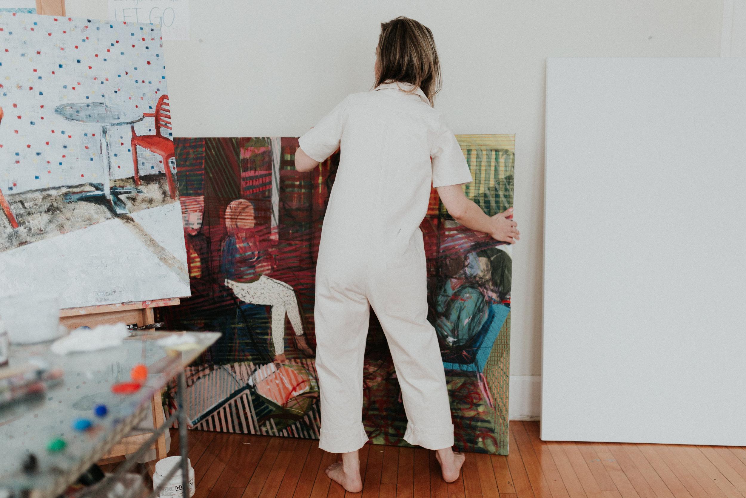 Fine Artist Laurel Dugan - in her studio