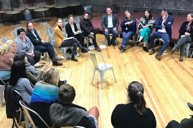 NEP members in conversation