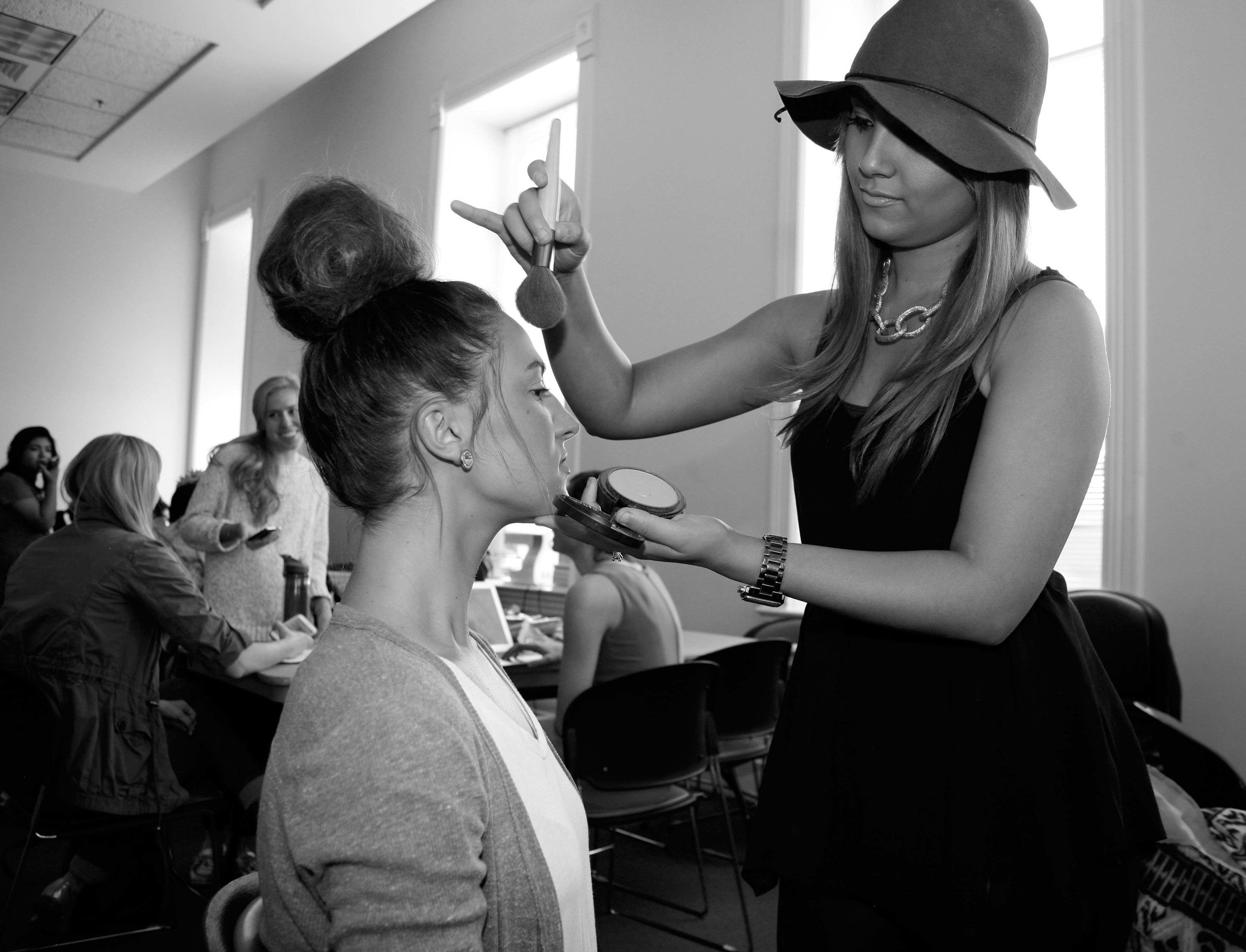 Getting my makeup done before the Saturday show! This MUA was a mega babe & so sweet!  Photo by: ME