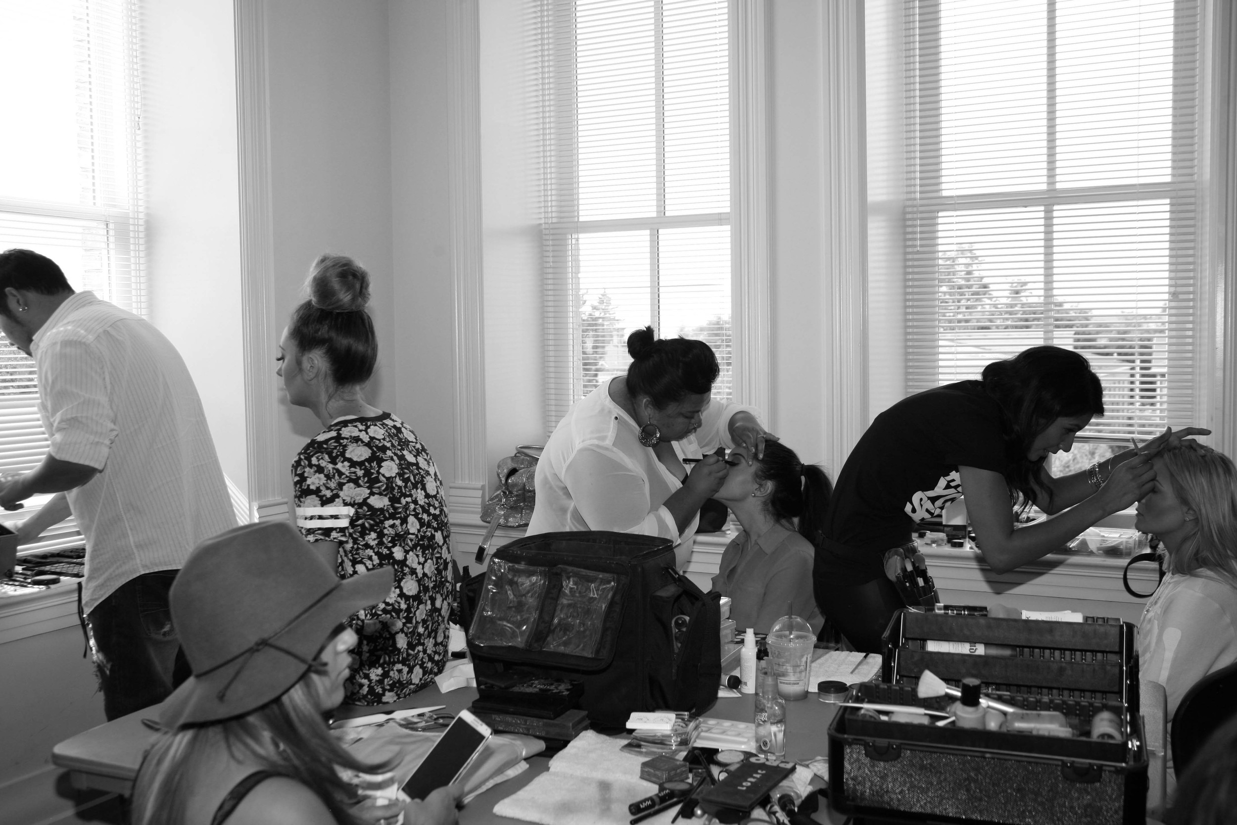 Hair/ makeup station...and dressing station...and mingling station. AND basically where we lived for two days  Photo by: ME