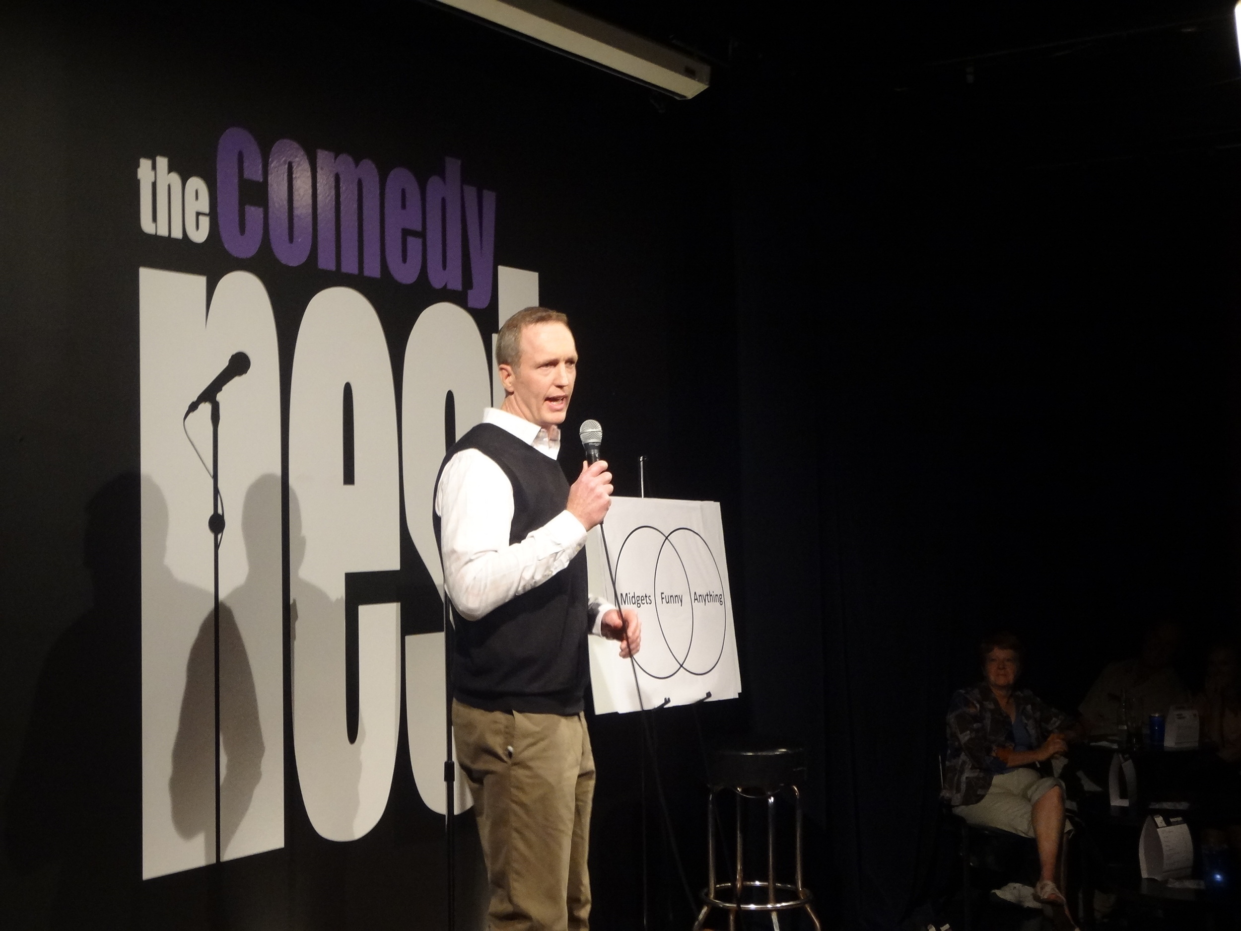 McGraw putting his theory to the test at the Comedy Nest in Montreal, Canada.