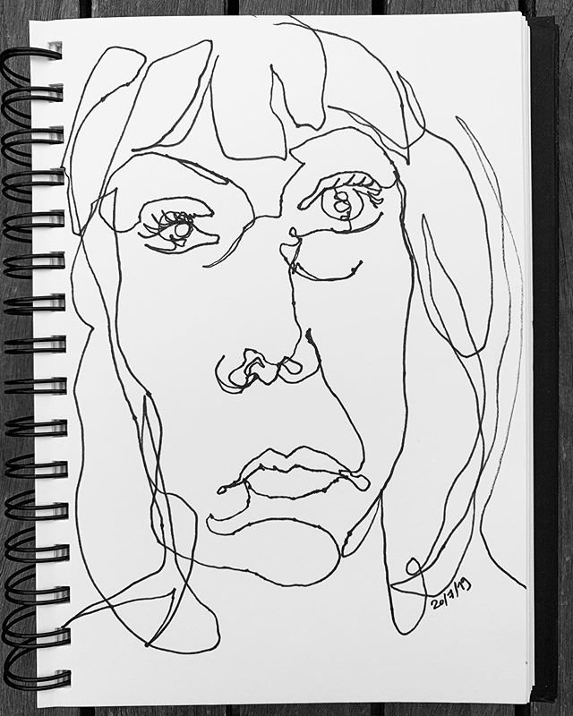 Why the long face birthday girl? One of my favorite pastimes is #blindcontourdrawing, I love how crazy they always turn out! #thisis40 #blindcontour #happybirthdaytome