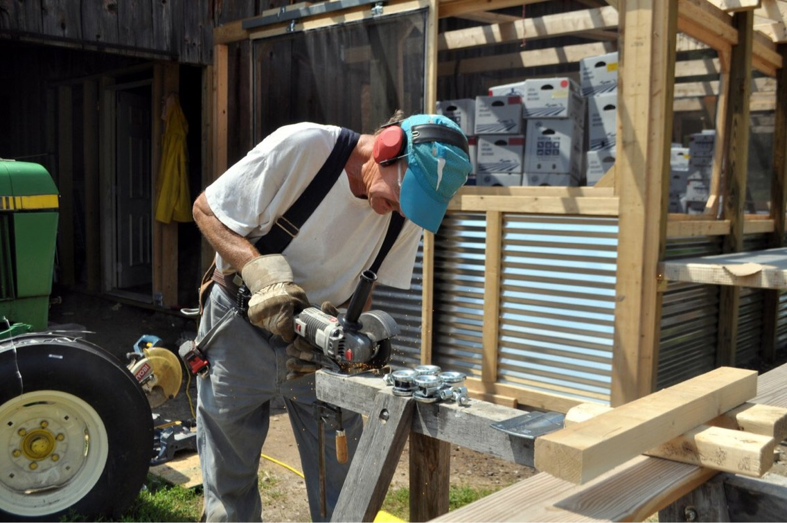 Phil working hard on the extension to our barn.