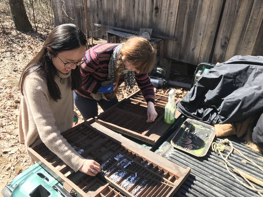 BLOODY TWIN PRESS / OHIO FIELD SCHOOL Spring 2018 - present  In 2018, Molly joined The Ohio State University's Ohio Field School in Scioto County, OH to work with poet Brian Richards to document and restore his letterpress Bloody Twin Press. She continues to work with Richards and Bloody Twin Press in restoring the print shop and restarting operation for the first time in twenty years.   Read more .
