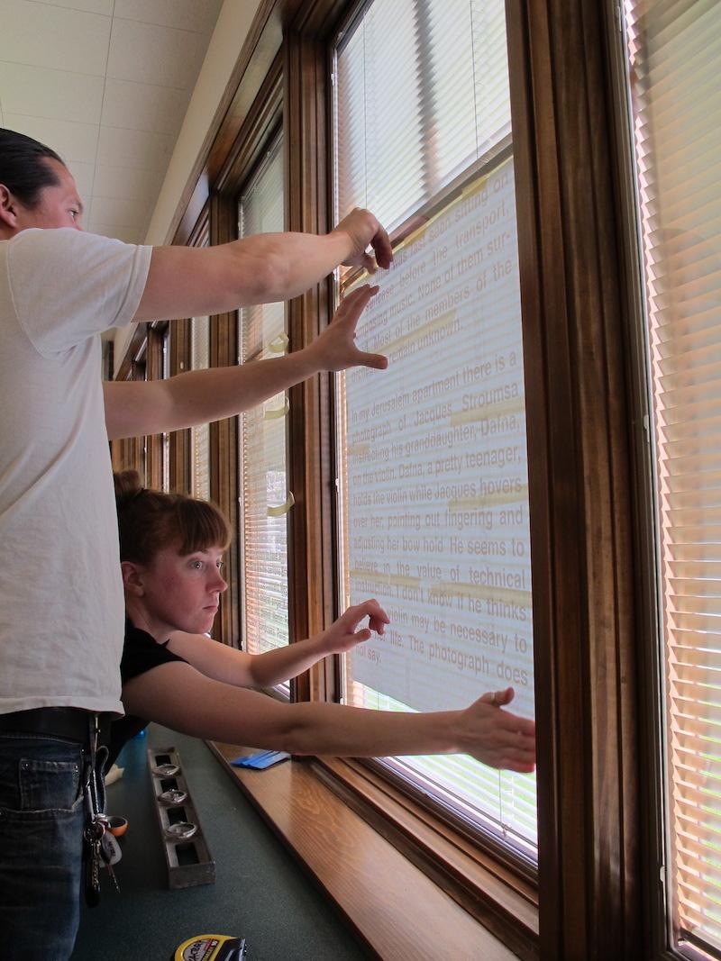 Molly & Kenji Yoshino installing Kevin Haworth, Tama Public Library