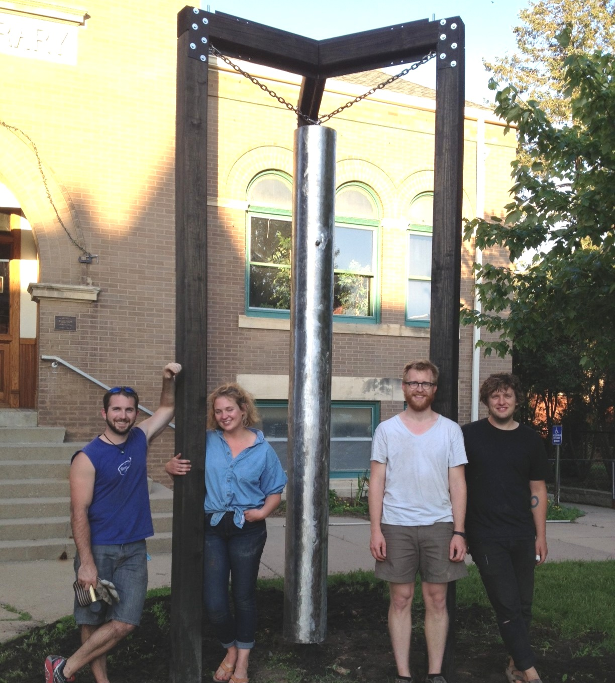 The Chime 2013 - Sarah Coote, Alex Hansen, Joe Lacina, and Tony Zappa designed and installed an interactive public sculpture in downtown Grinnell.