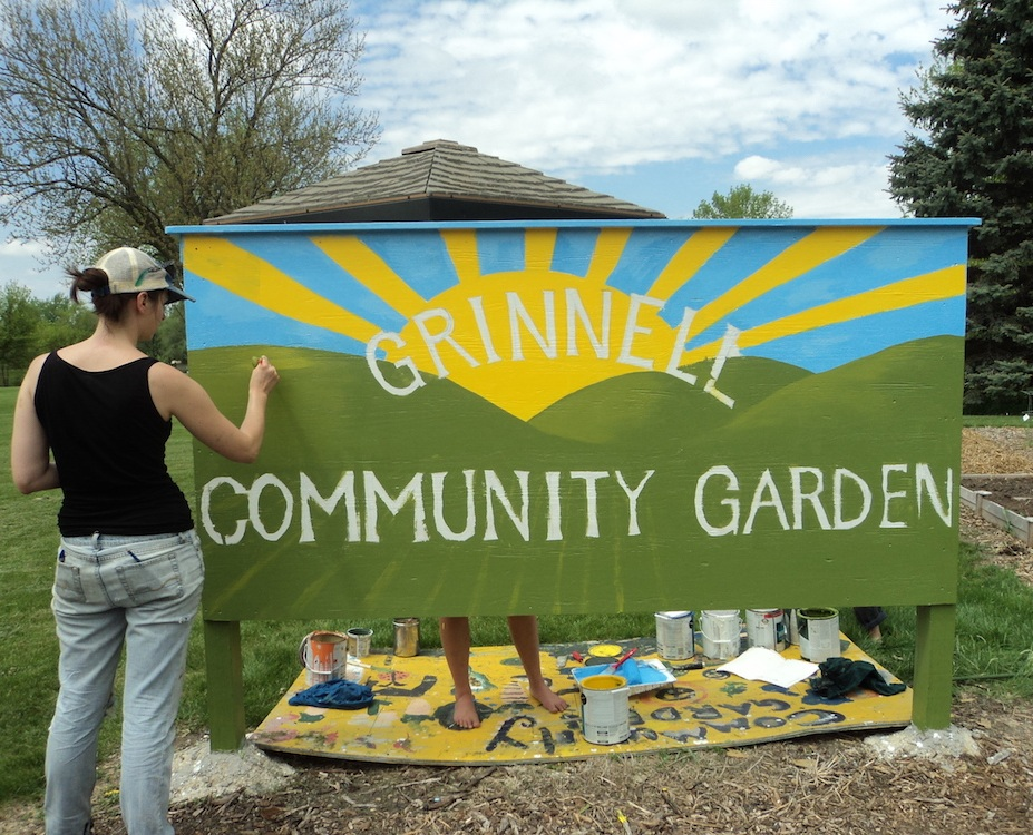 Community Garden Sign 2013 - When the Grinnell Community Garden needed a face lift, our artists-in-residence stepped up to help.