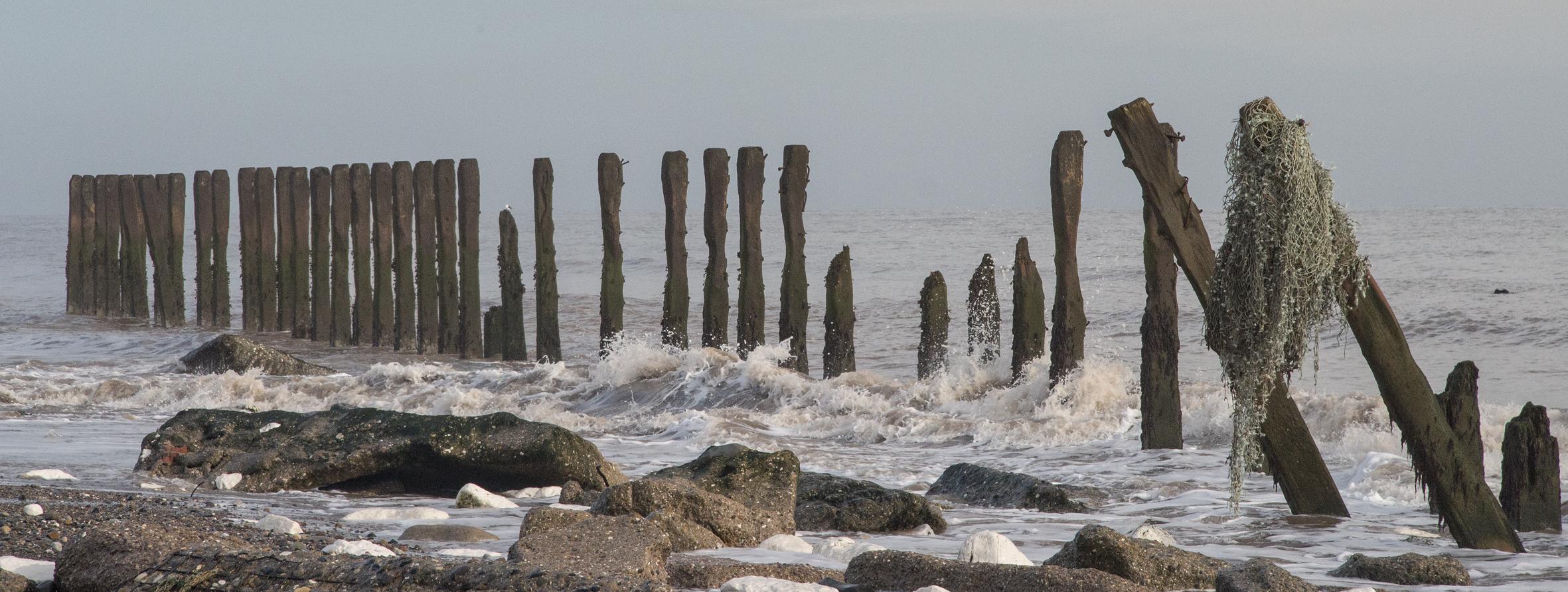 Groynes in the sea