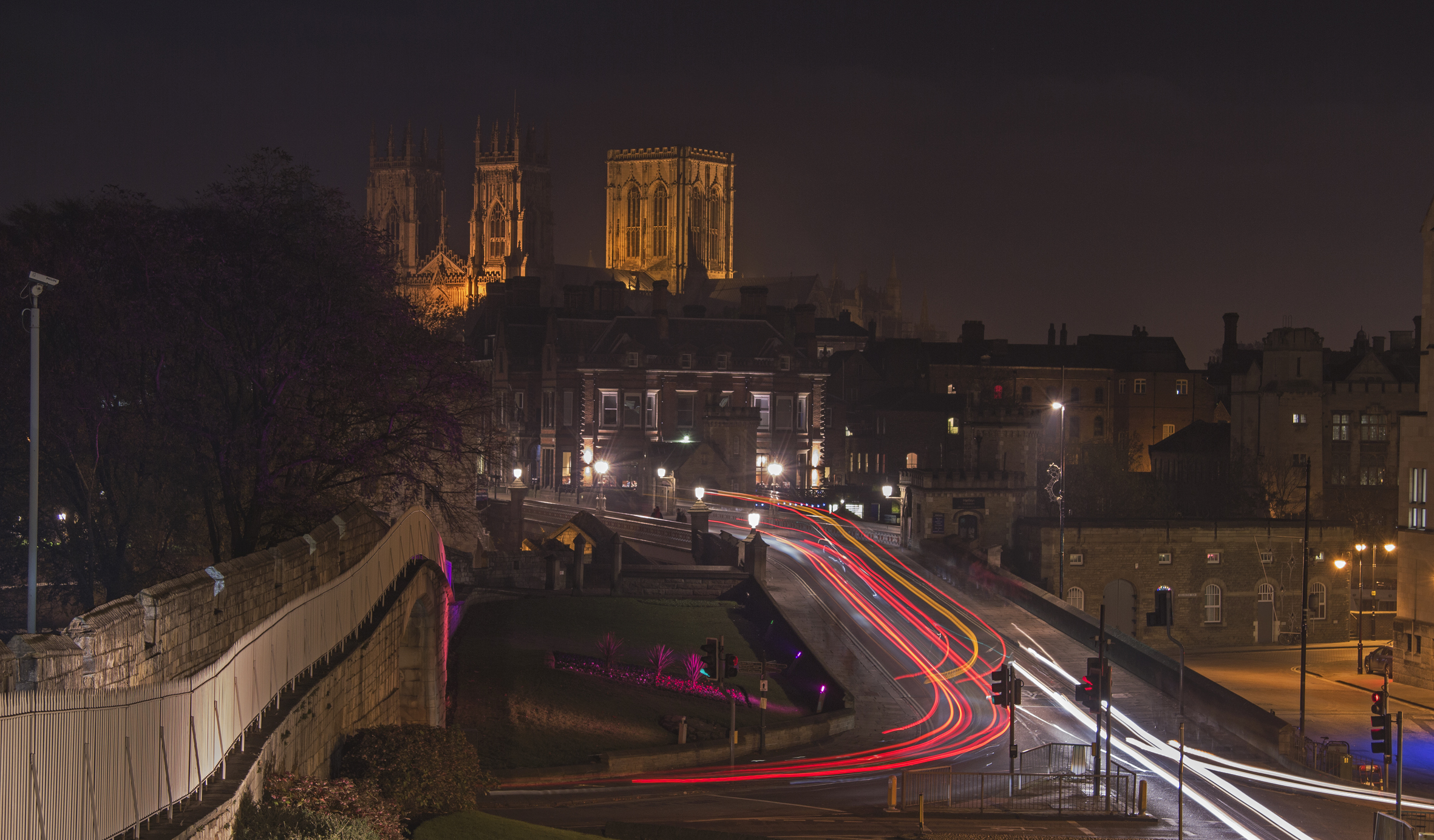Traffic trail version of the iconic image of York