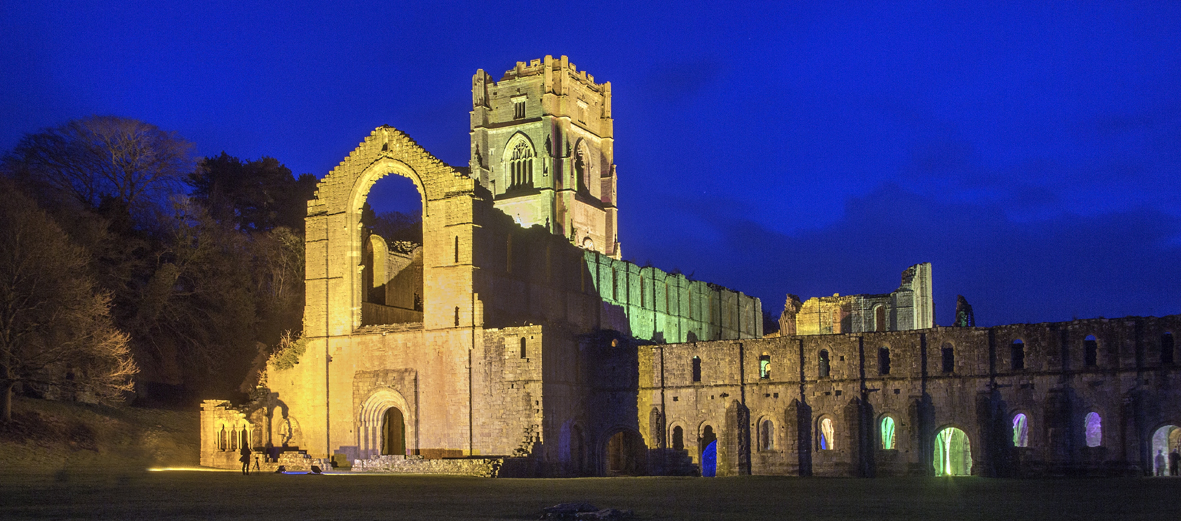 Fountains Abbey at night