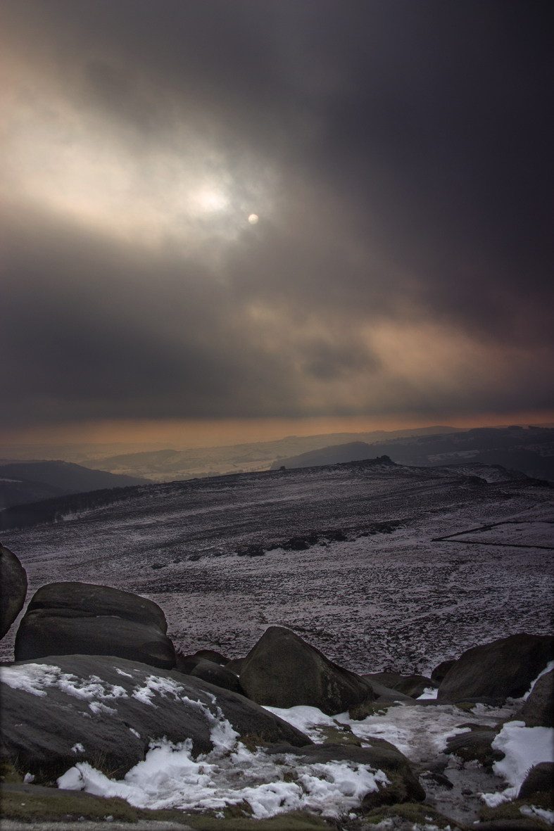 Higger Tor - moody sky and the sun