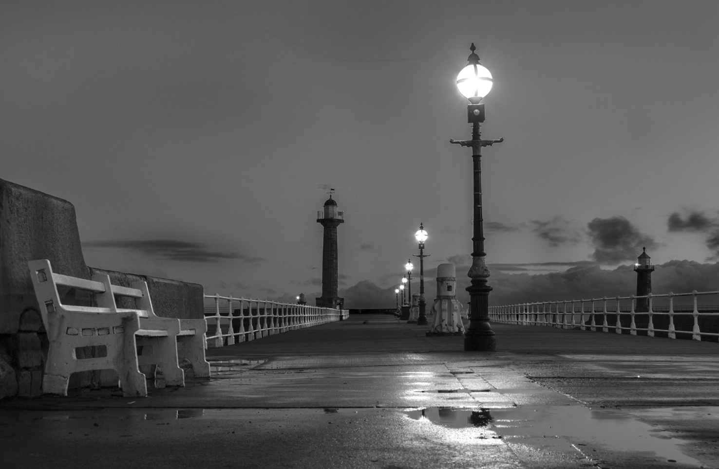 Whitby north pier at dawn