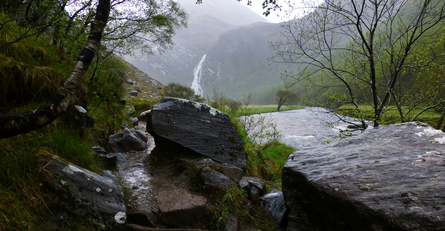 Steall Waterfall from the Canyon