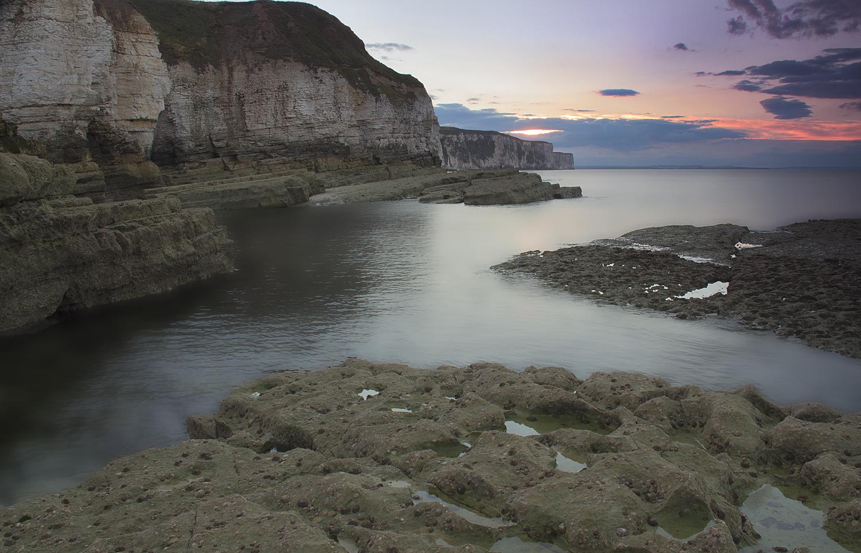 sunset at Thornwick bay