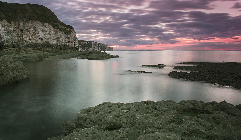 Last light at Thornwick bay
