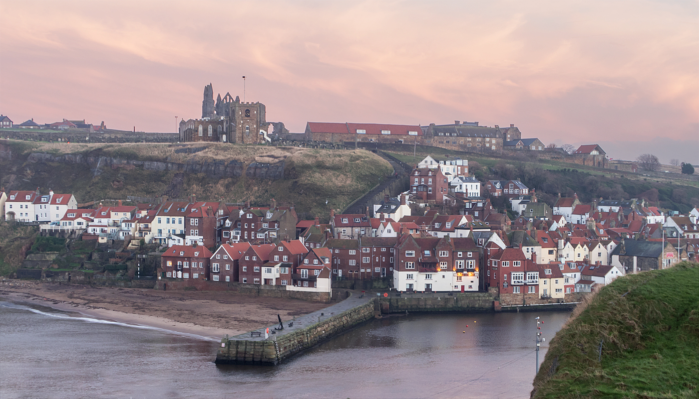 Red glow over Whitby Abbey