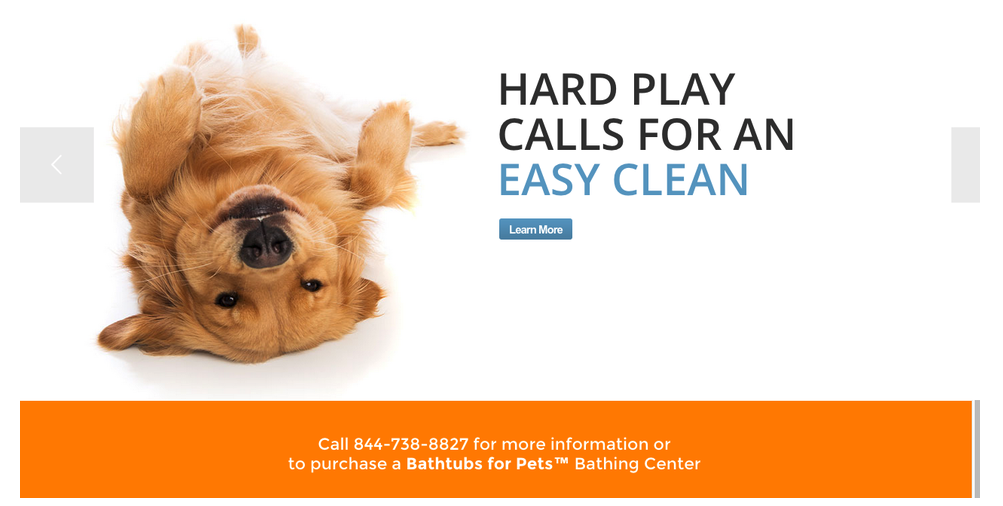 Homepage for  Bathtubs for Pets.