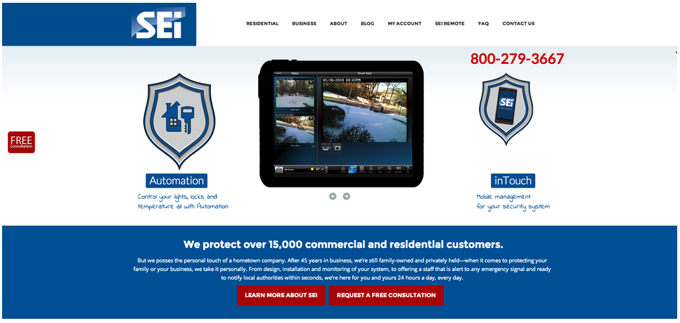 Homepage for national home and business security company,  SEi .