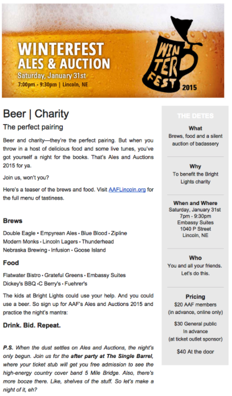 Ales and Auctions eBlast for American Advertising Federation (AAF).