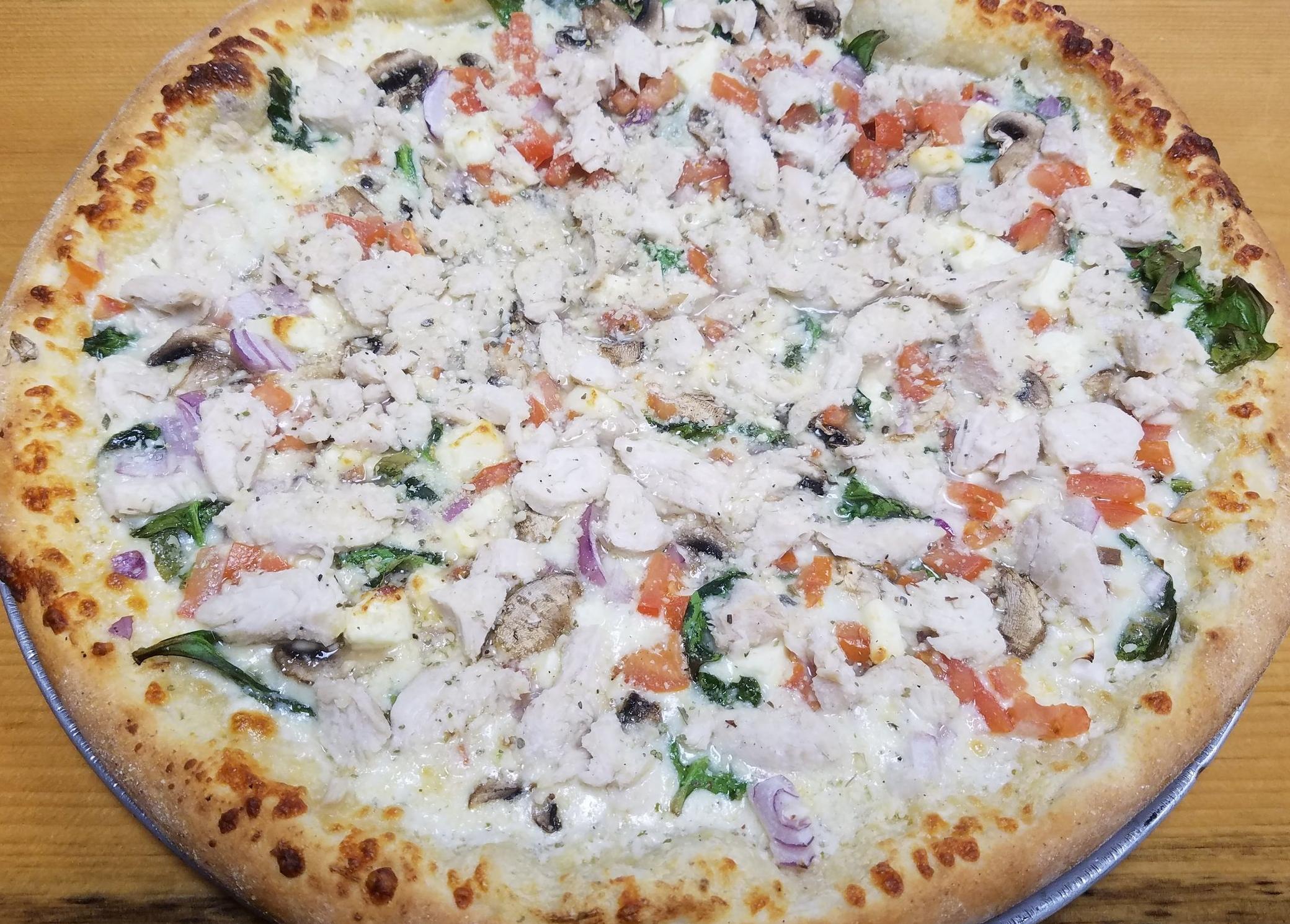 Garden Alfredo  Alfredo, cheese, spinach, mushroom, onion, tomato, feta. Add chicken sm $1.25 lg $2.25  S 9.50  L 18.99