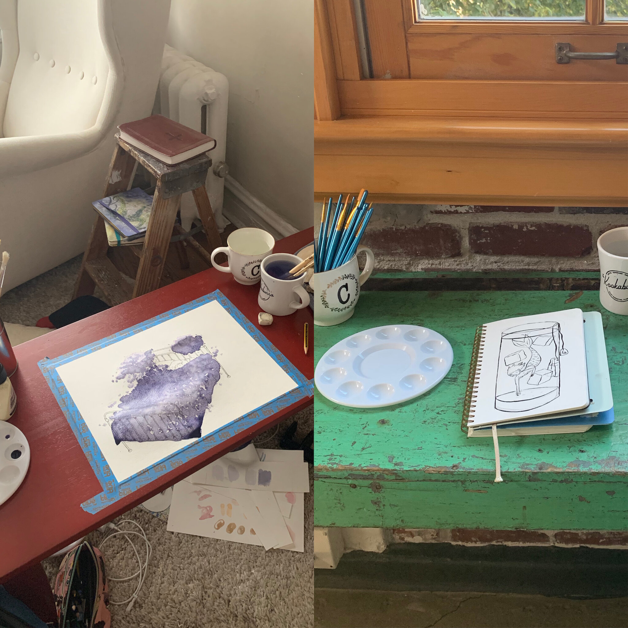 "Left my Japanese-style ""desk"" in Buena Park, Chicago. Right: Andrew's and my new creative workspace in the Pearl District."