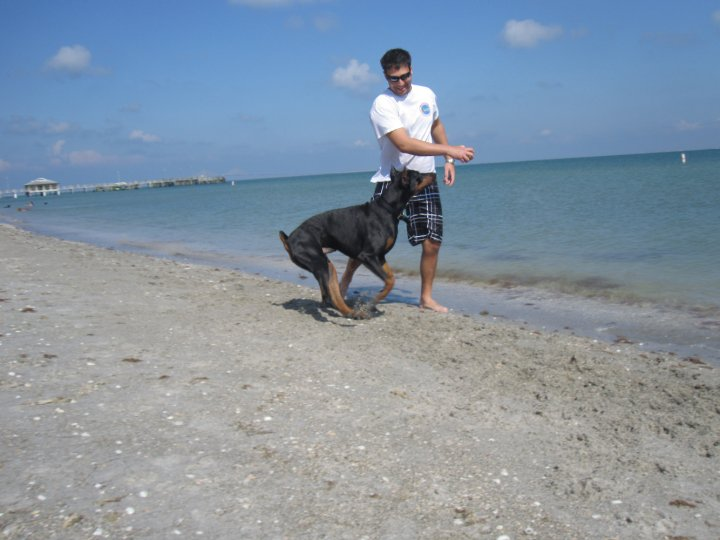 Byron playing on the beach