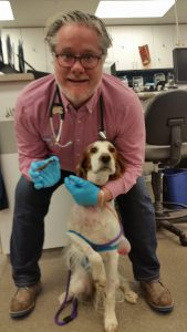 Dr. Andrew Jackson of BluePearl Veterinary Partners with the stick he removed from Cuddy.