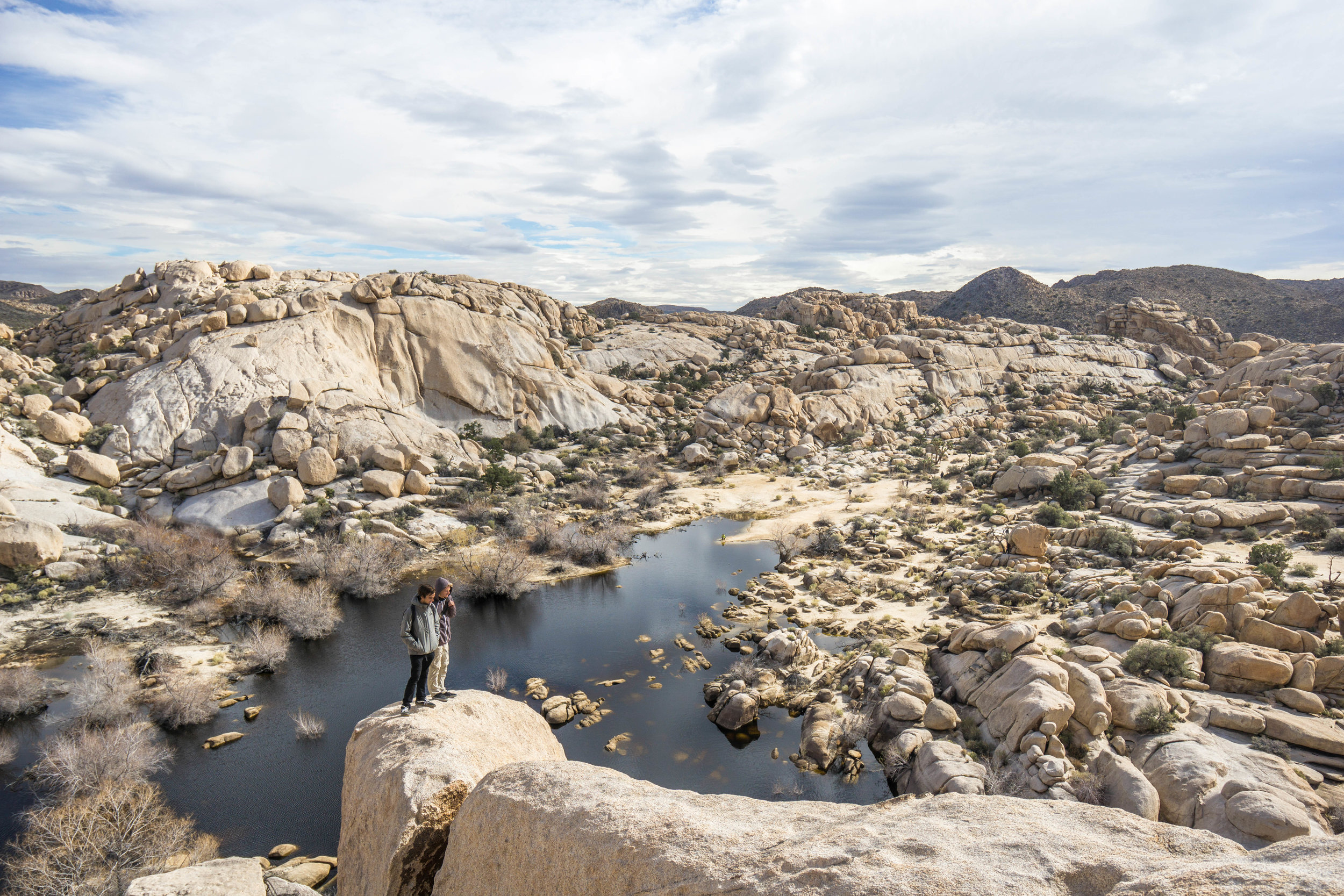 Joshua Tree has no natural lakes, making Barker Dam a refreshing site in the normally bone-dry desert.