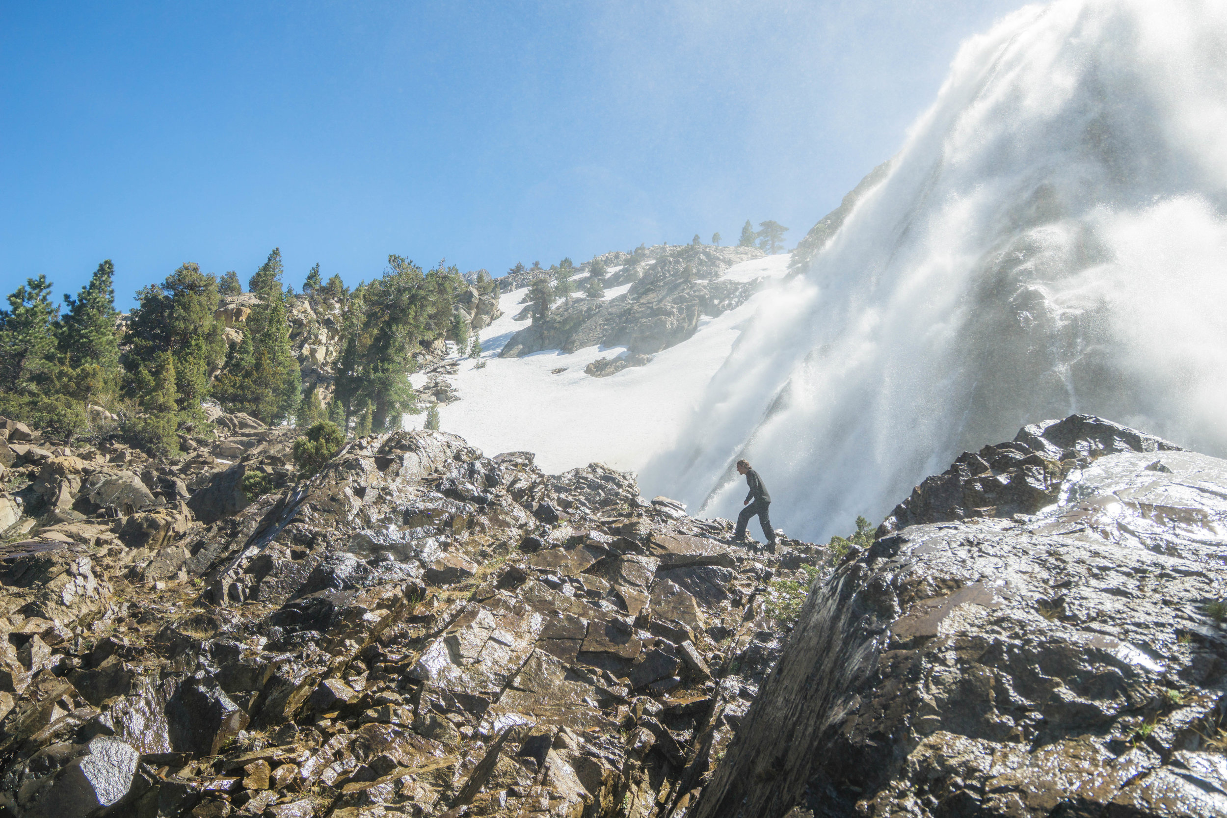 Getting blasted by the sun, the melting winter snowpack fed the fall's torrent rush with an abnormally large amount of water.