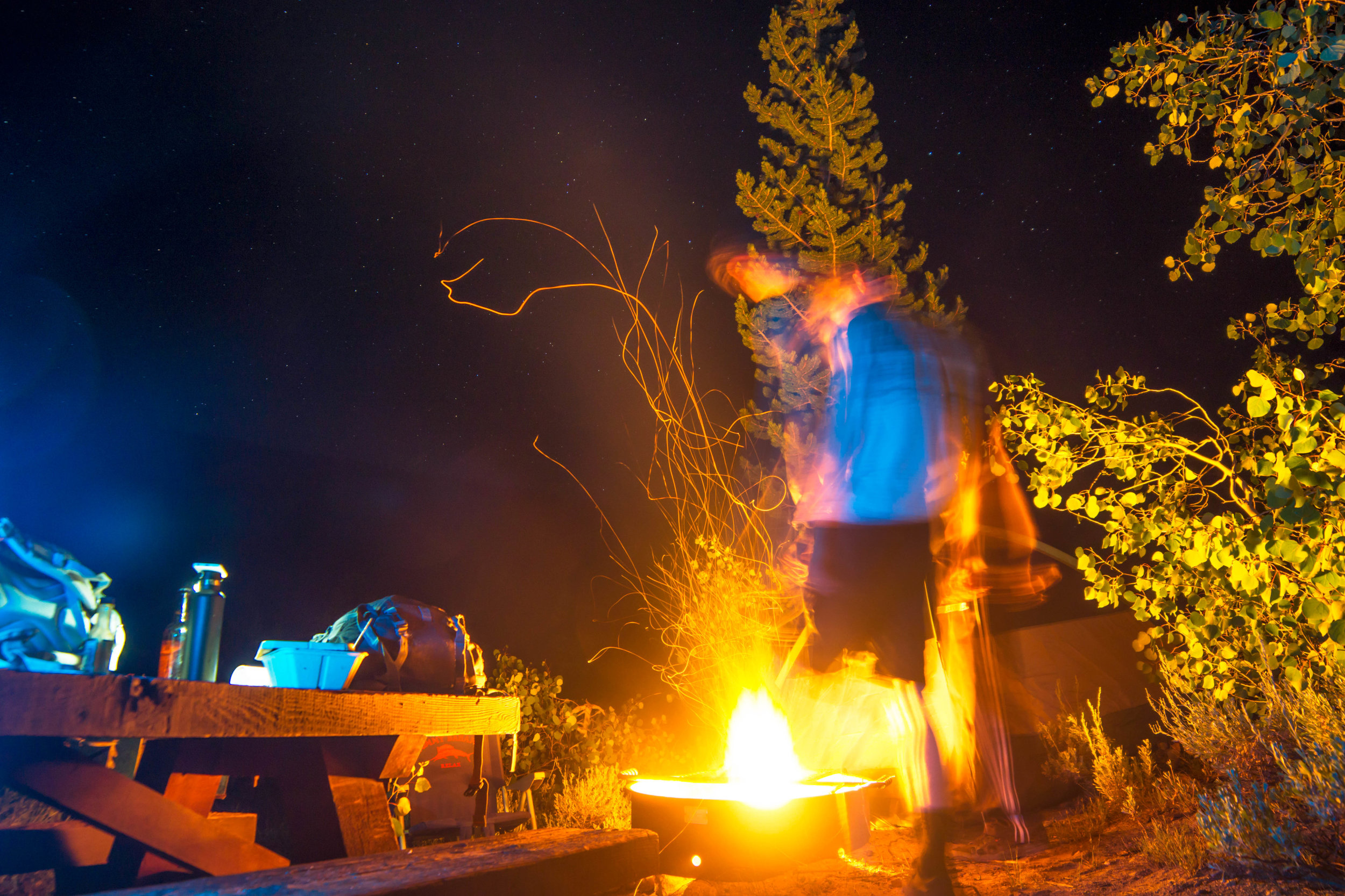 We arrived back at camp in the blackness of night, quickly sparking a fire that glowed in a brilliant orange, cooking our food & warming our bones.
