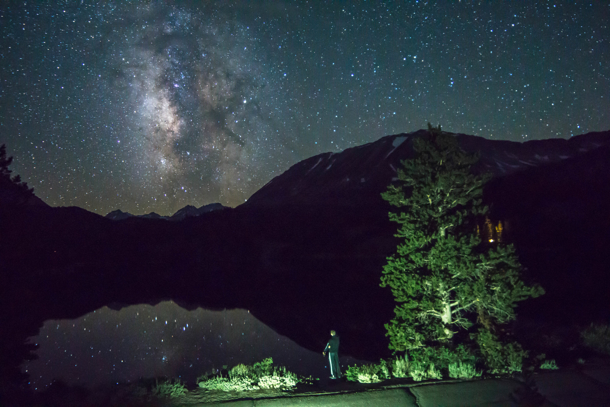 A 6 hour drive brings us beneath a starry sky cut by the galactic center of the Milky Way in the Eastern Sierras just outside of Bishop.