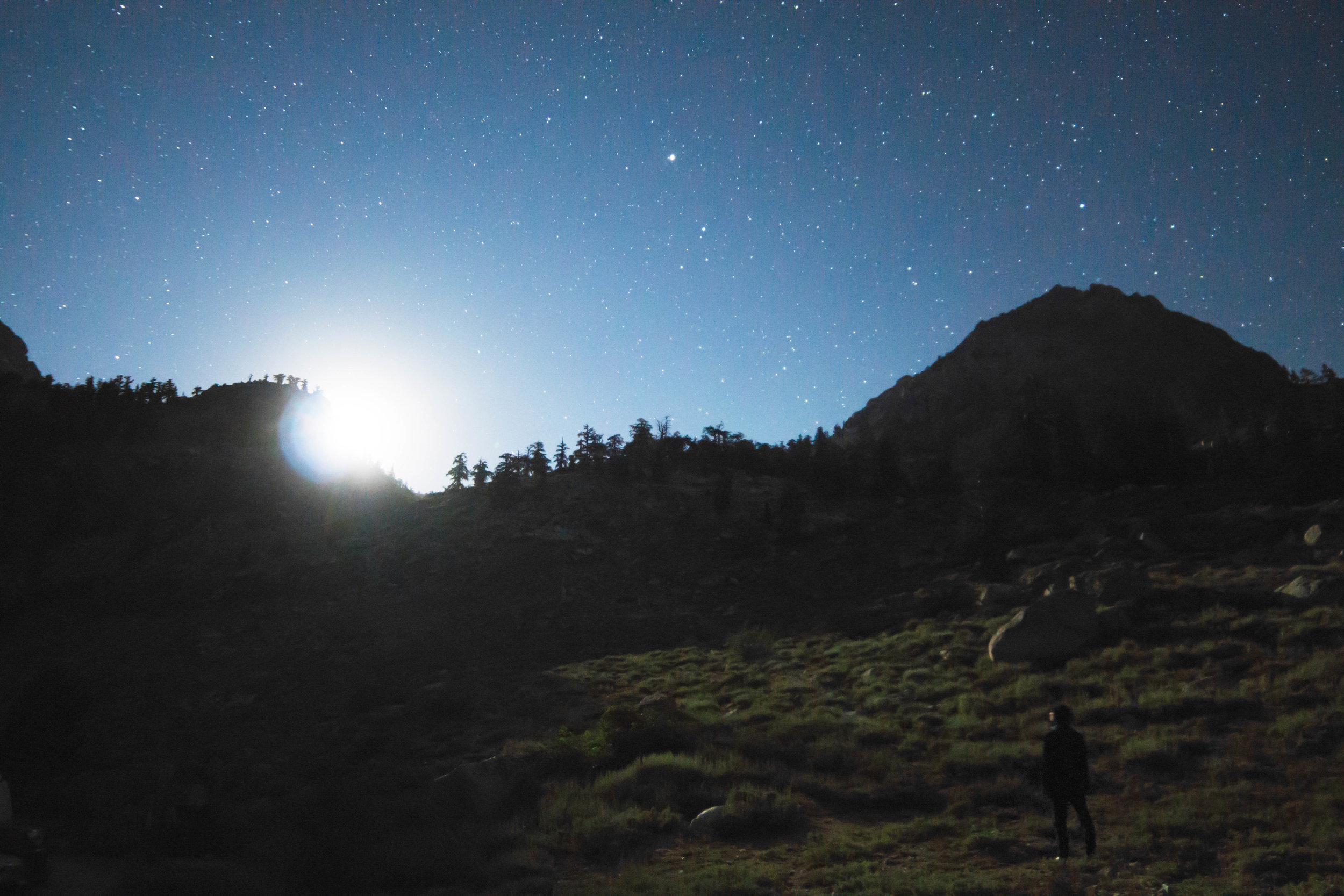 A stargazing favorite of ours is watching the moon rise. As it crests the horizon, the dark landscape is suddenly illuminated, something only noticeable when away from city lights.