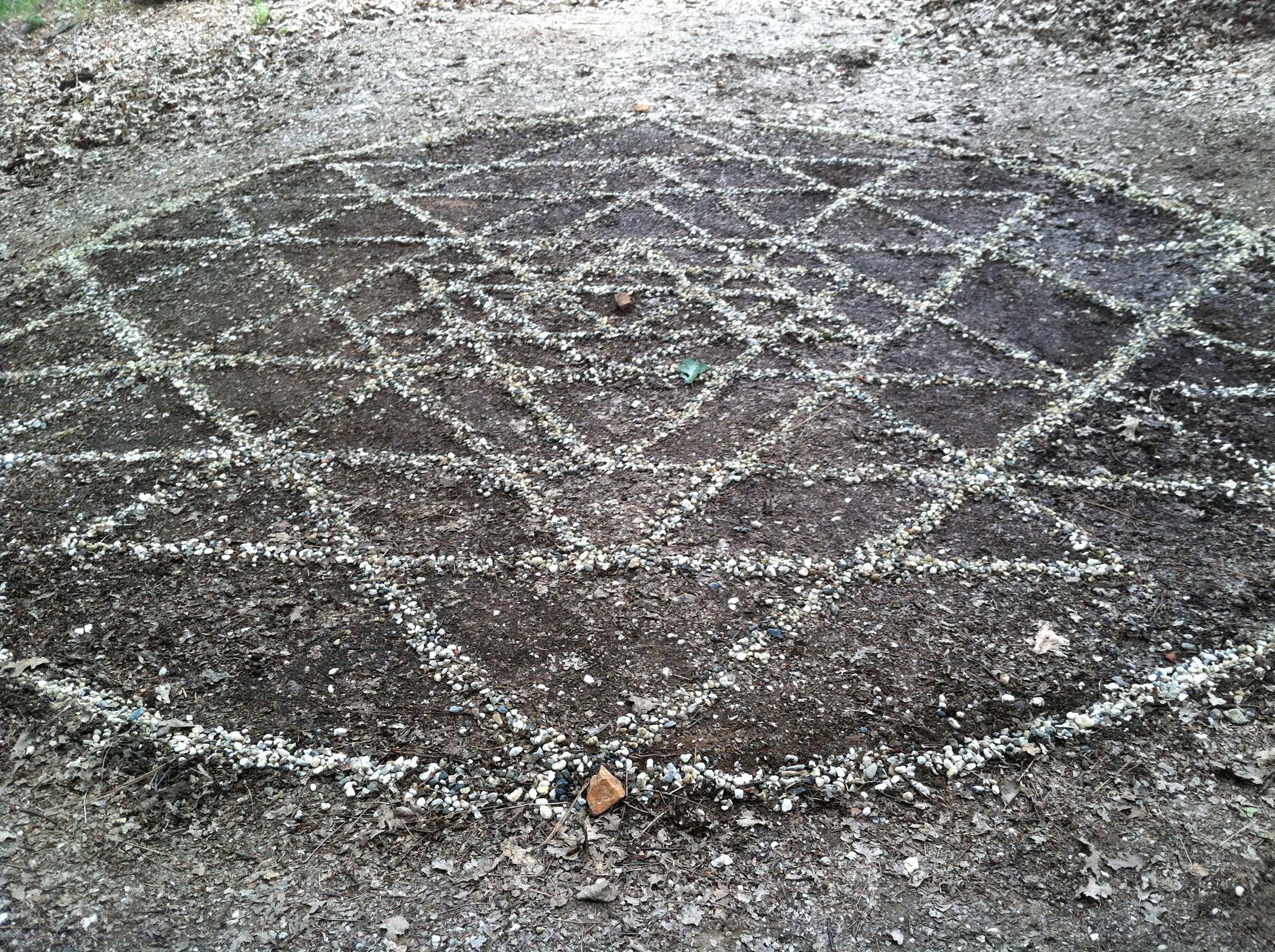 shri yantra: stones on earth, Nevada City, CA