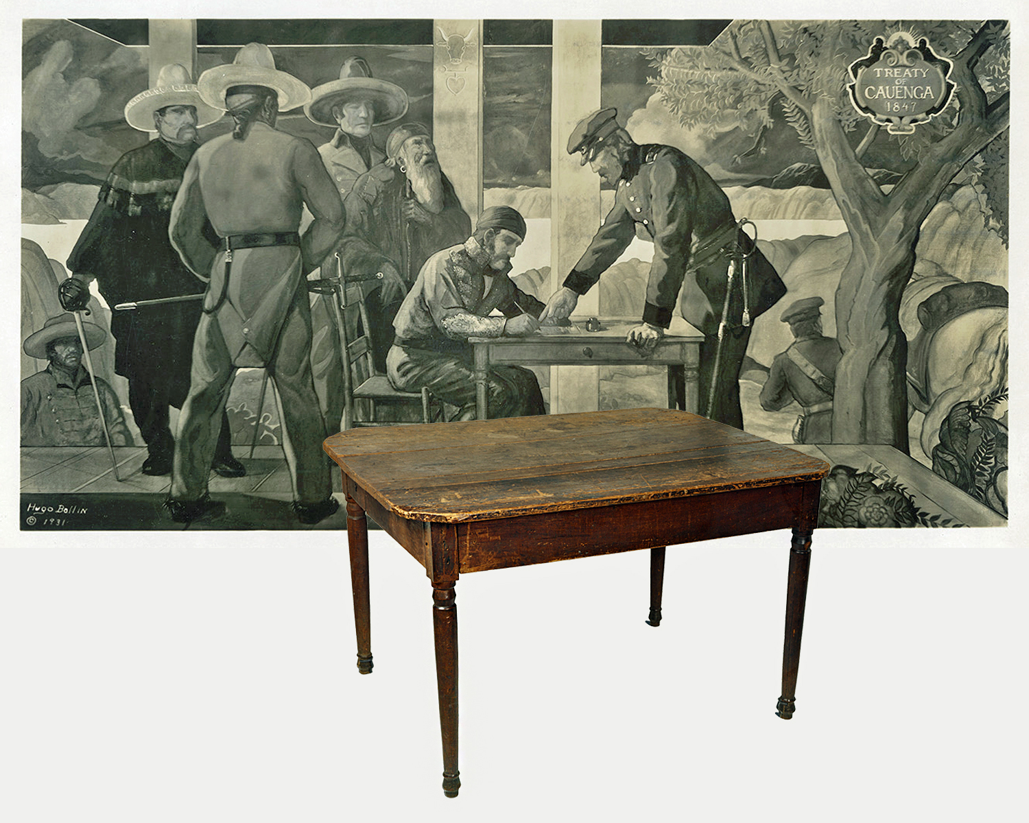 Mural photograph courtesy of the federal Works Progress Administration Collection, Los Angeles Public Library; table photograph courtesy of the Natural History Museum of Los Angeles County