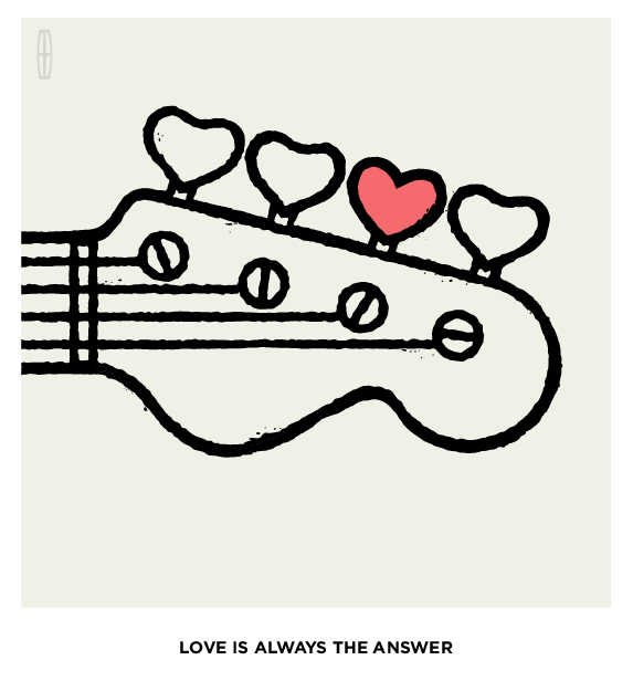 "(ABOVE) Illustration published when Aloe Blacc song (""Love Is The Answer"") and TV spot aired during the Grammys, connecting real time audiences from the TV spot to the digital content through the #MusicUncovered hashtag using TV-targeting on Twitter.  (BELOW) Additional illustrations created to represent the most talked-about 2014 Grammys nominees including Justin Timberlake, Macklemore, Daft Punk and more."