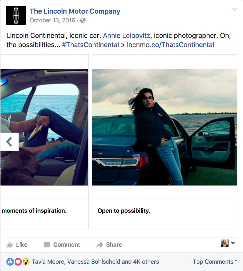 Example of a Facebook carousel unit used to target general Luxury and Lincoln audiences.