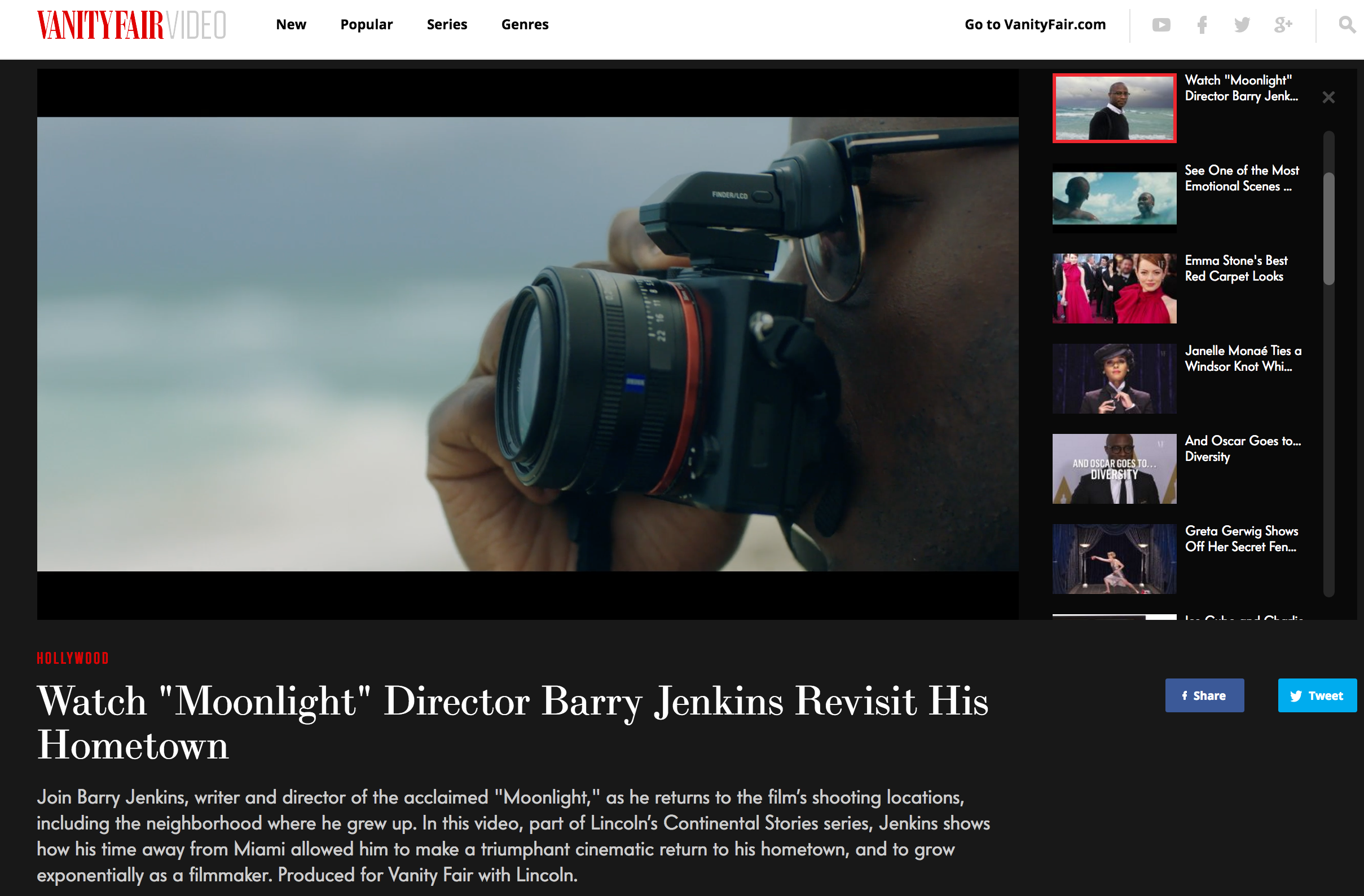 Brand content integrated in Vanity Fair Video online.