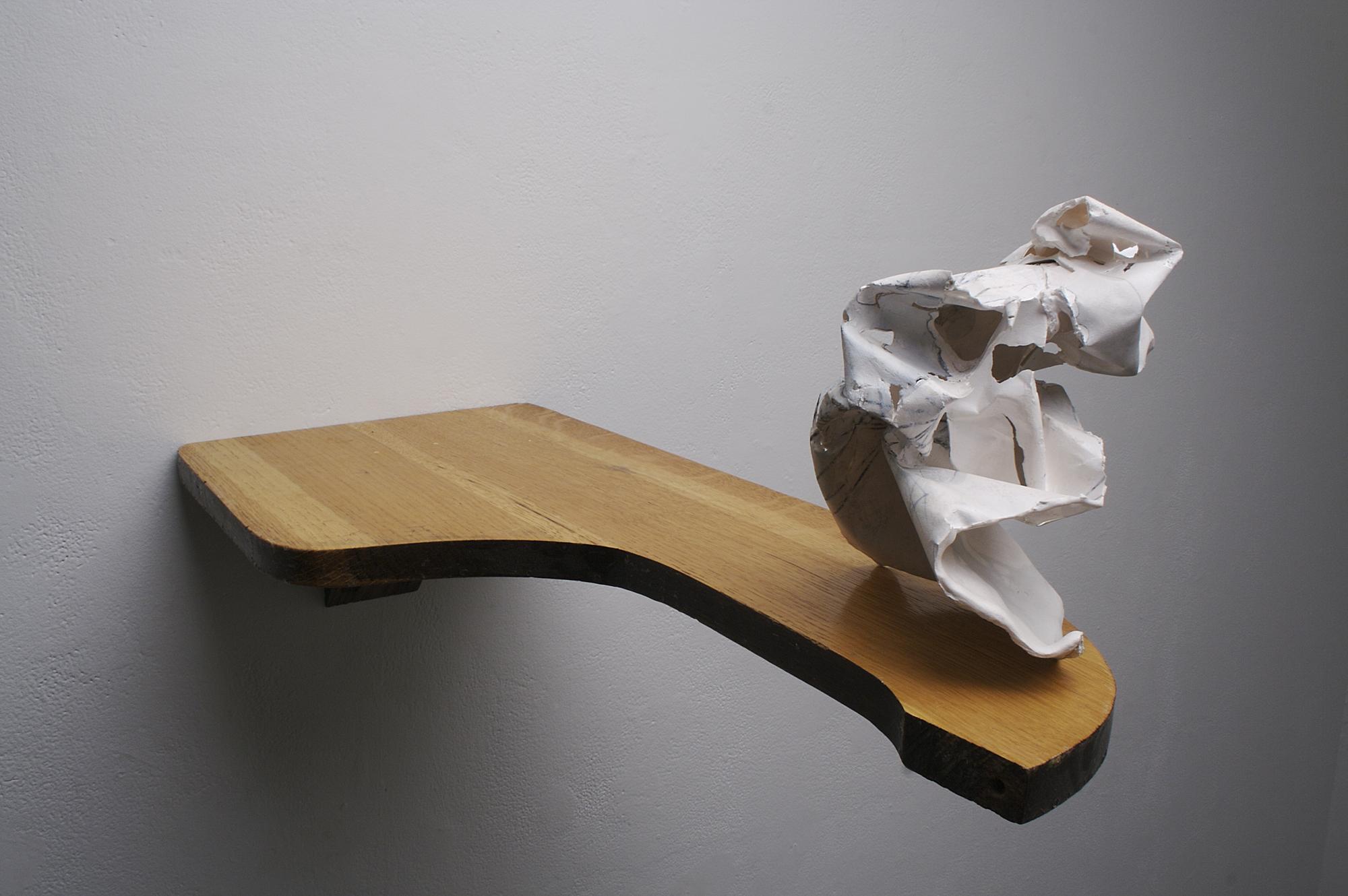 Cast porcelain, underglaze pencil, ceramic decals, desktop.