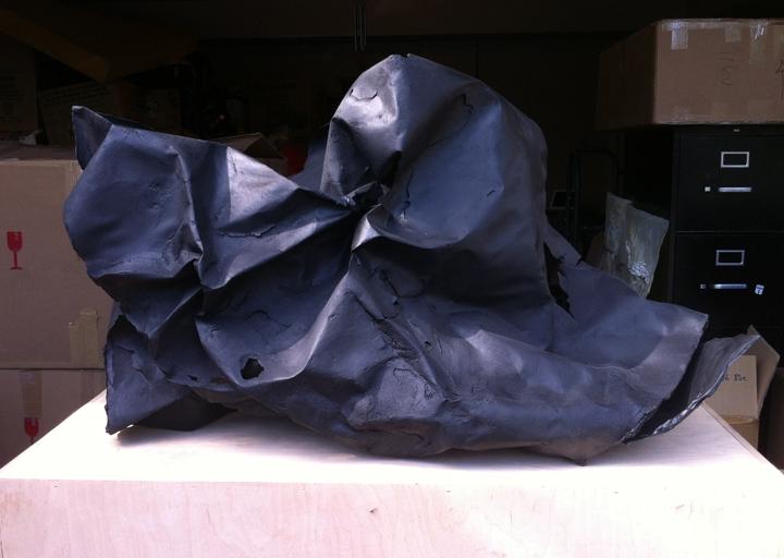 cast porcelain, charcoal, fixative