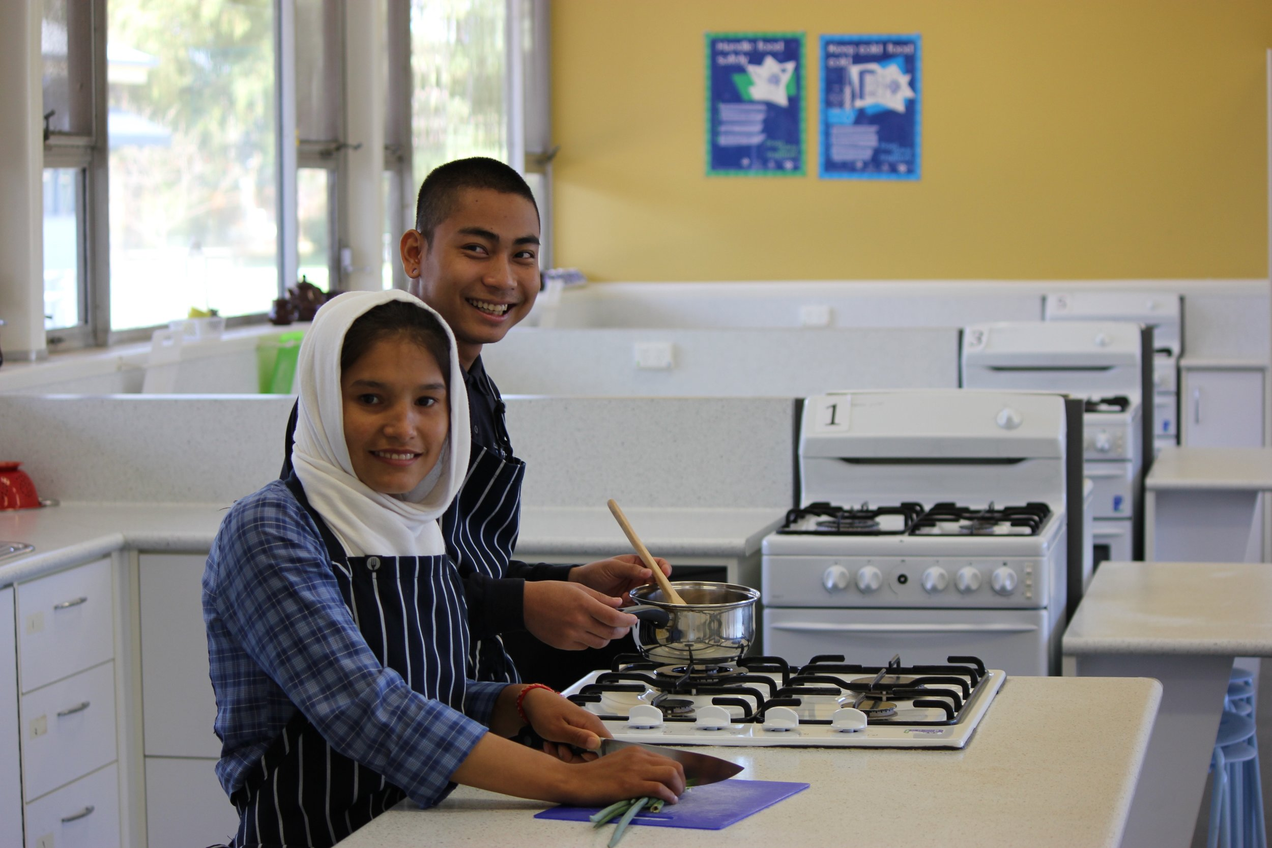 Students working in the school's home economics centre.