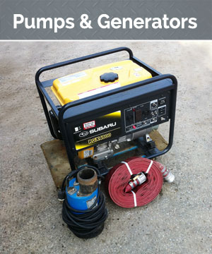 Our selection includes submersibles, centrifugal, and specialty pumps. We have generators suitable for power tools off the grid or for operating an entire work site.