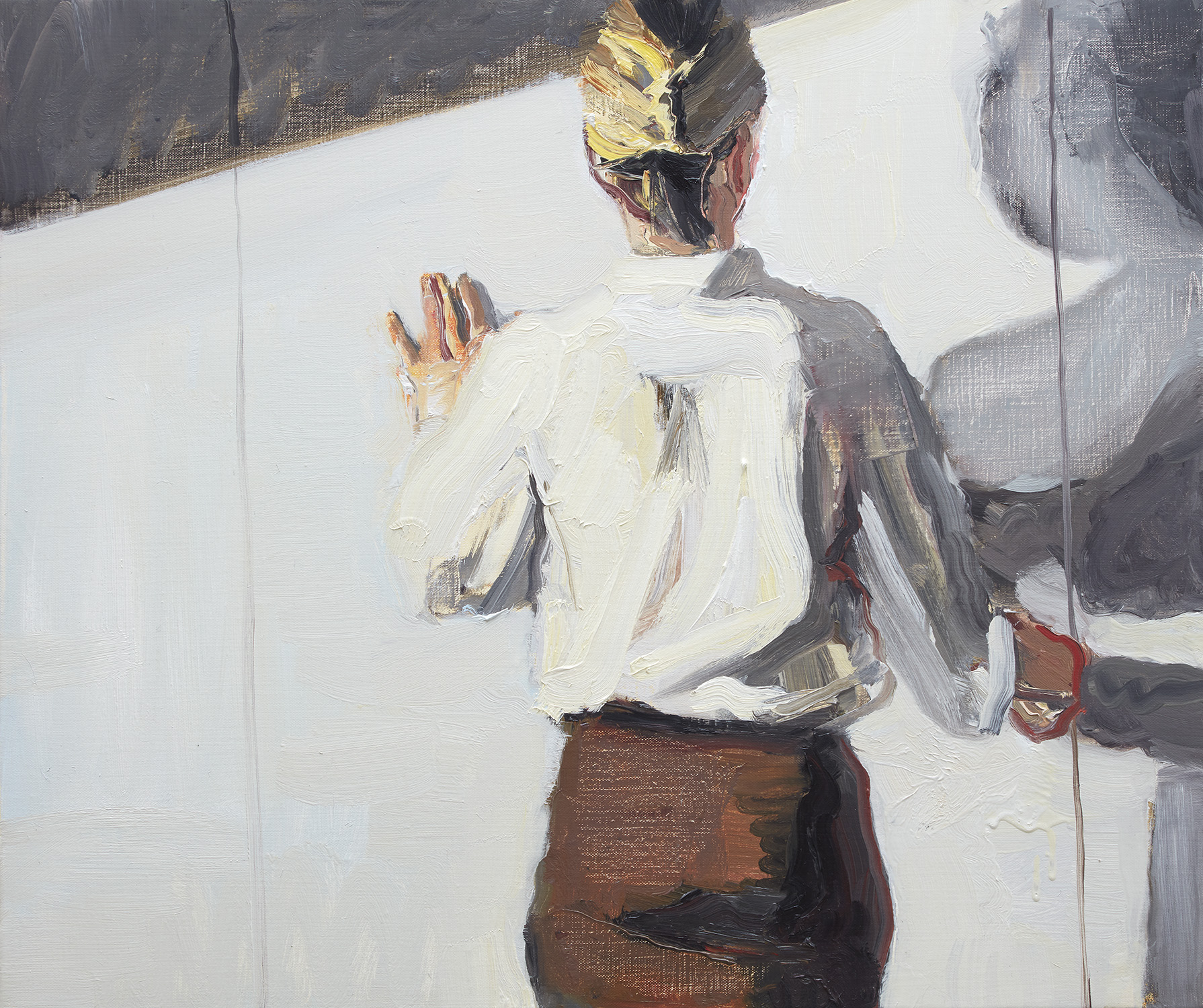 WOMAN AT A DOOR 2 2017 oil on linen 56 x 66cm